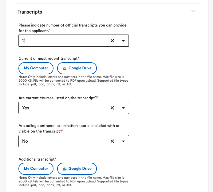 Where to Upload Transcripts